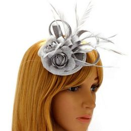 Silver Grey Fascinator Clip Hair Feather Flower Wedding Ladies Day ... ef83cc388f4