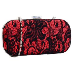 Ivory Red Black Blue Fuchsia Lace Clutch Bag Box Style Ladies ...